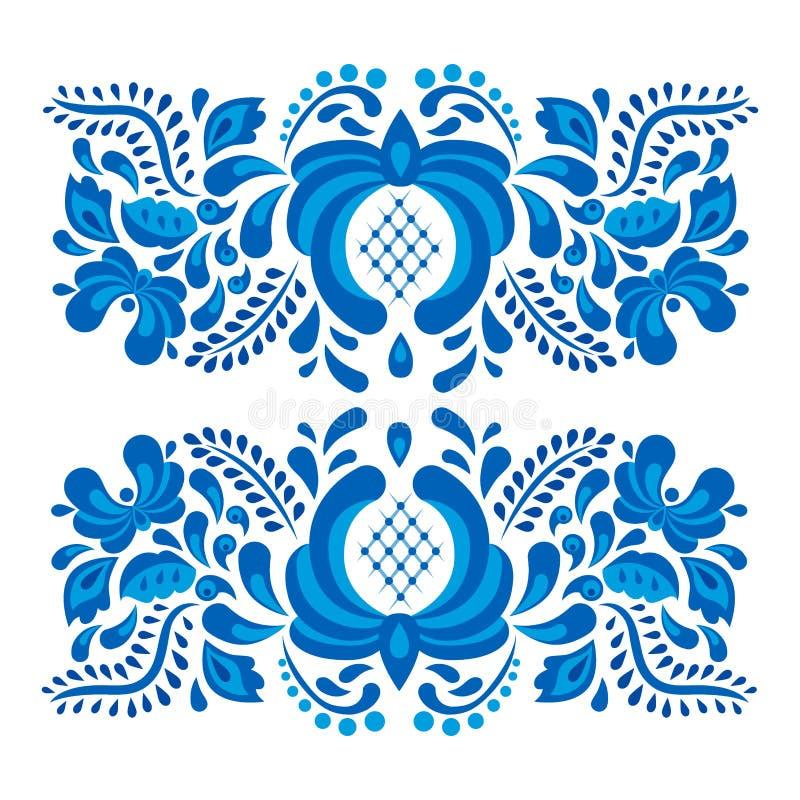 El ruso adorna el estilo del gzhel del arte pintado con el azul en vector popular tradicional del modelo de la rama de la floraci ilustración del vector