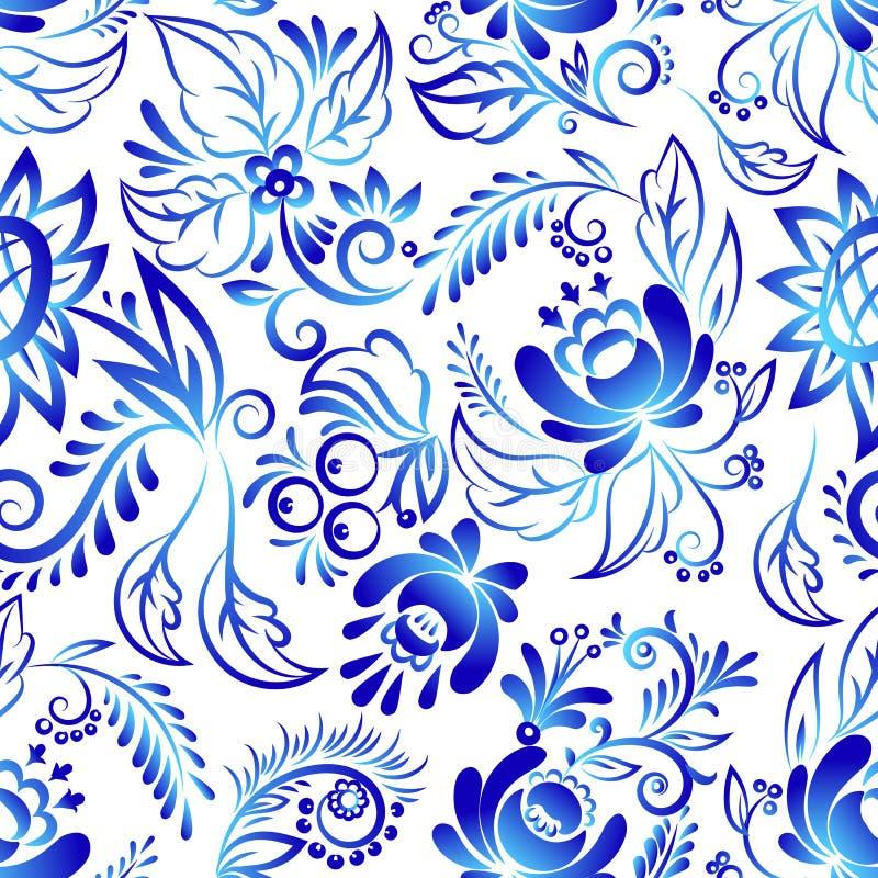 El ruso adorna vector inconsútil del fondo del modelo de la flor del gzhel del estilo del arte de la rama popular tradicional azu stock de ilustración