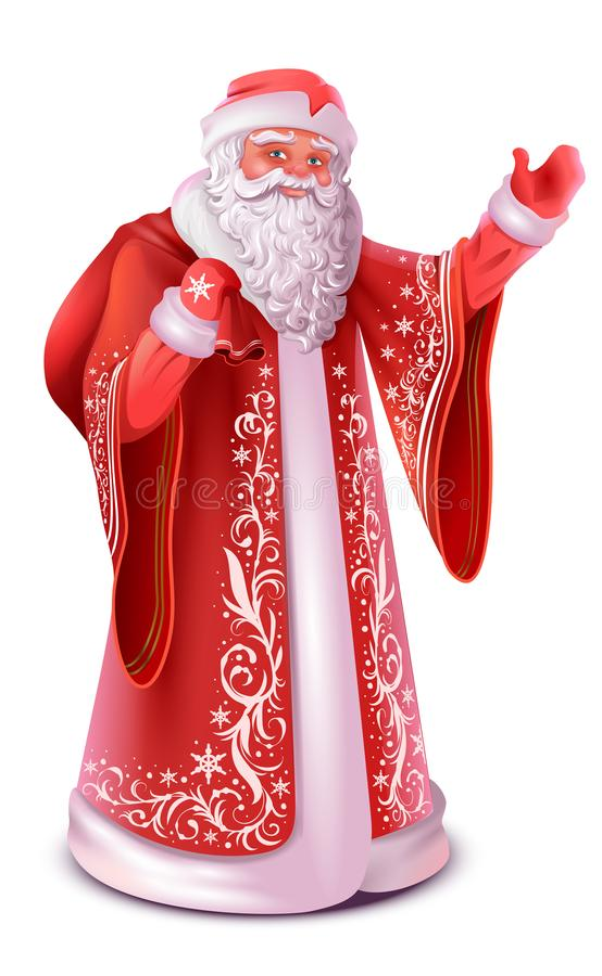 El ruso rojo Papá Noel hace la mano que agita del saludo libre illustration