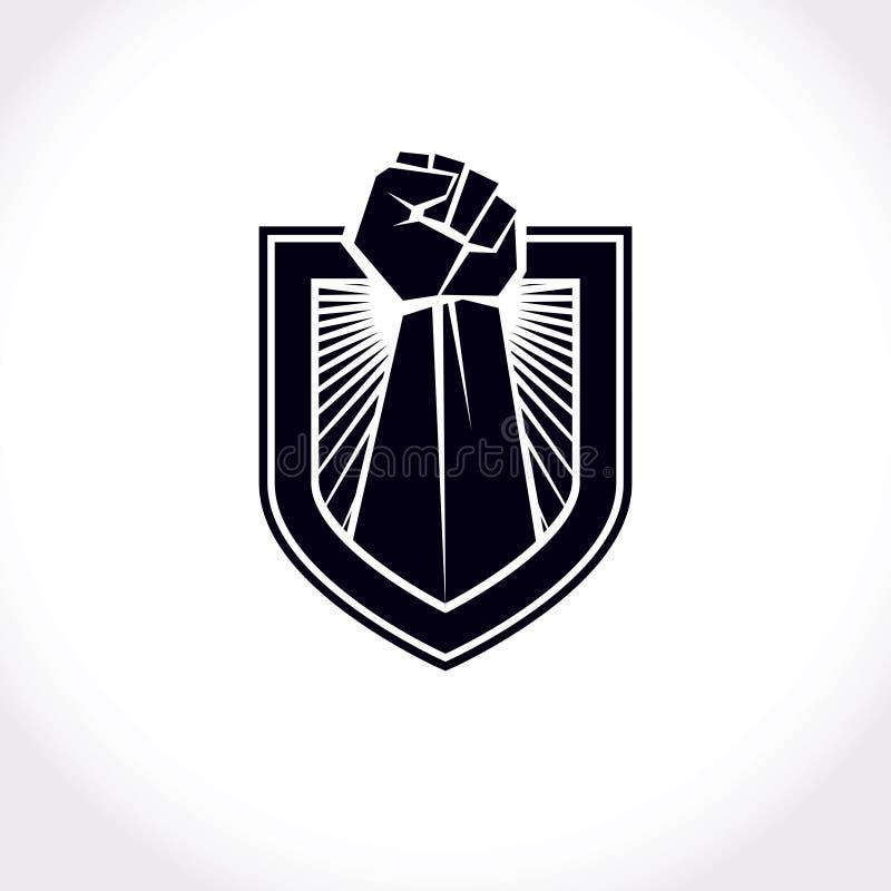El símbolo abstracto del líder proletario, vector rai apretado rojo del puño stock de ilustración
