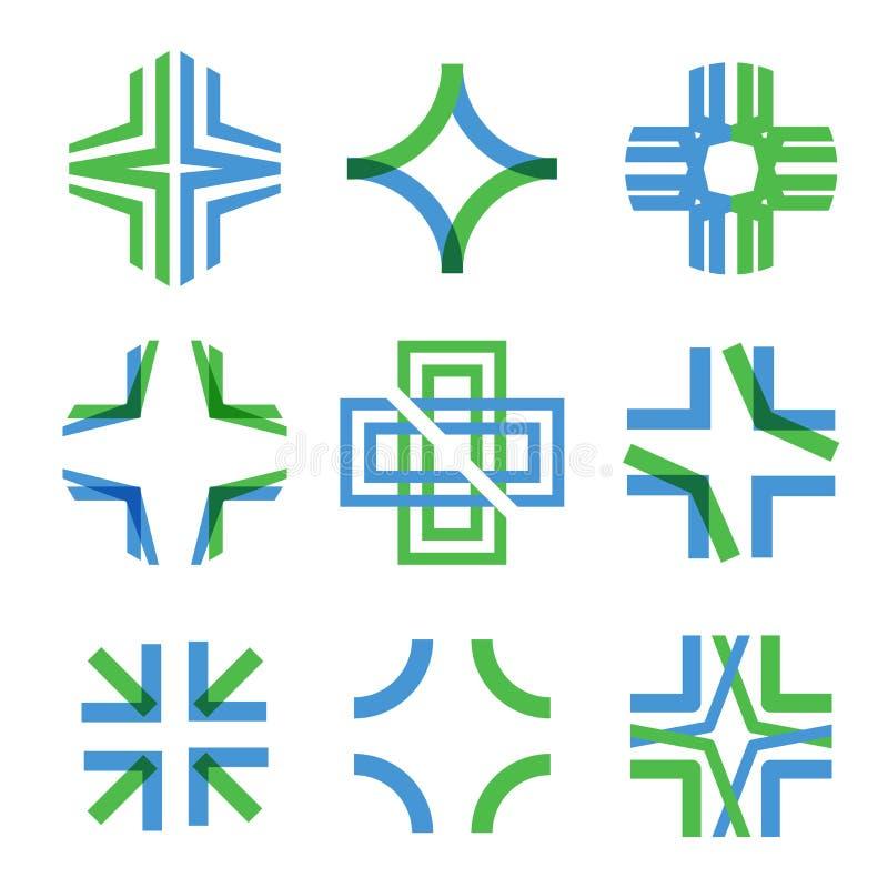 El símbolo abstracto médico de la intersección transparente alinea bajo la forma de cruz Muestra y logotipo magníficos para ilustración del vector