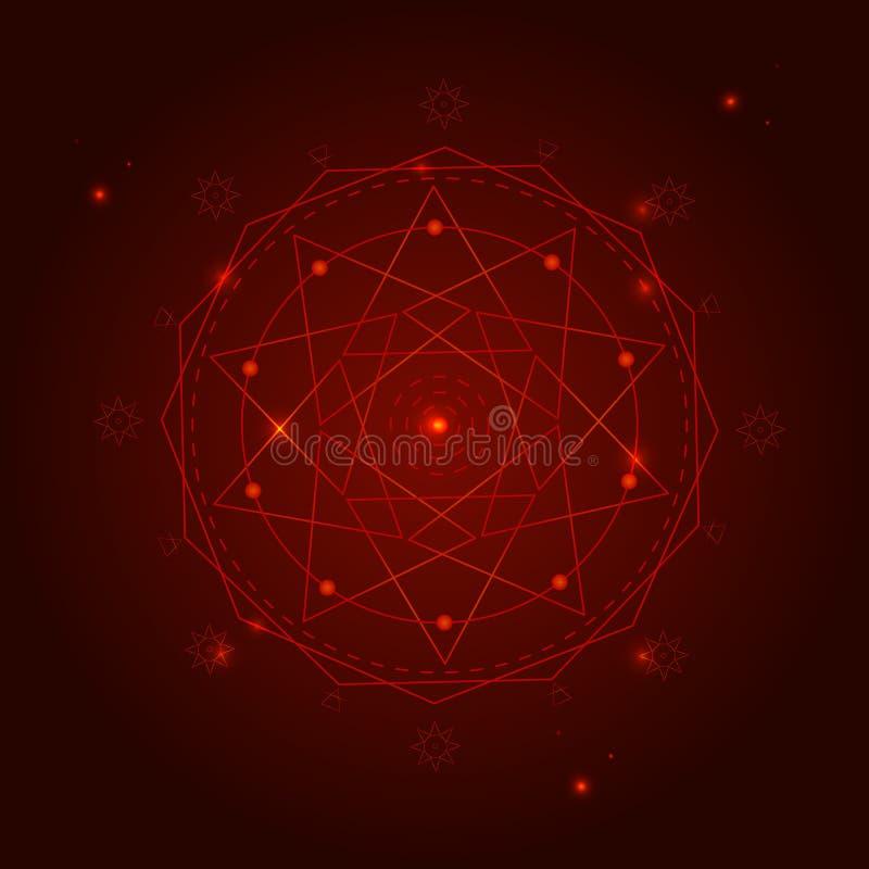El símbolo de la geometría de la alquimia enrarece la línea Vector ilustración del vector