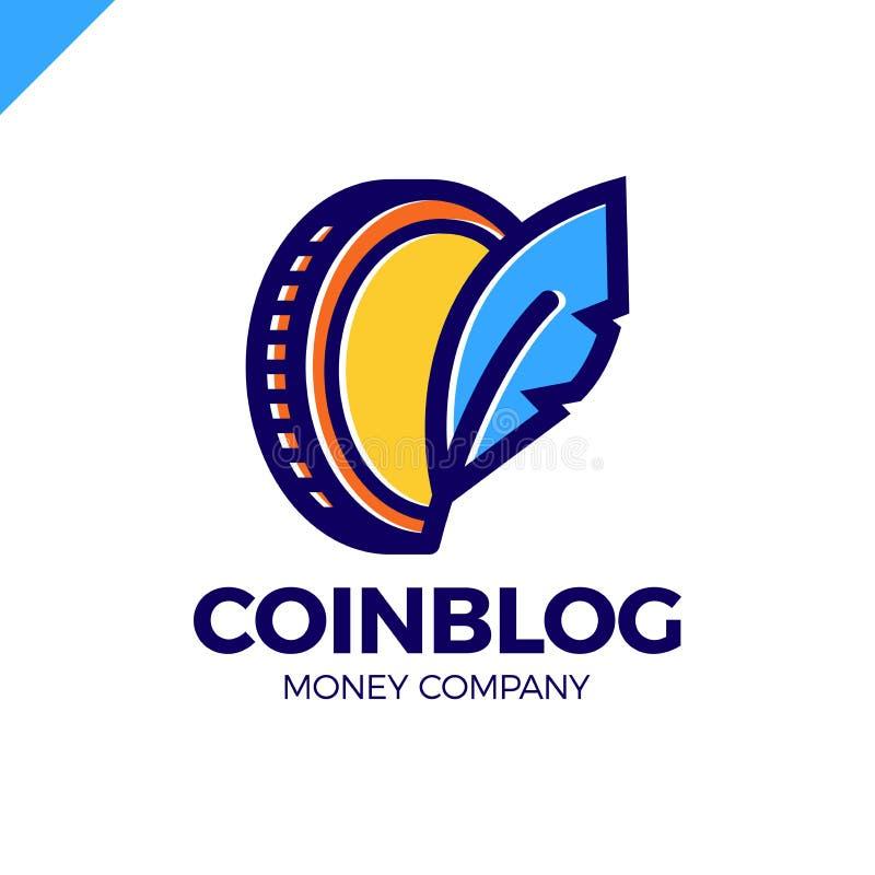 El símbolo de la moneda con la pluma canta Logotipo del escritor del blog del dinero libre illustration