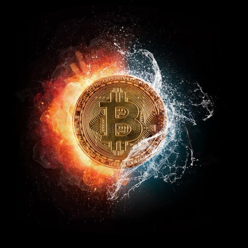 El símbolo de moneda crypto ardiendo de Bitcoin con agua salpica, aislador stock de ilustración
