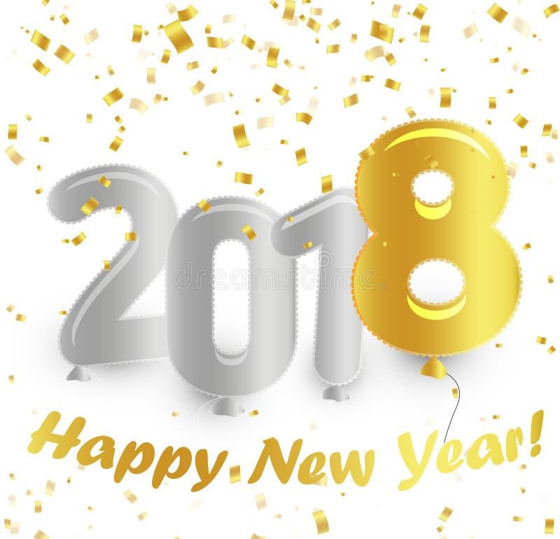 El símbolo de oro de la pendiente hincha el cartel Fondo blanco con confeti que cae del oro Ilustración del vector Eve Happy New stock de ilustración