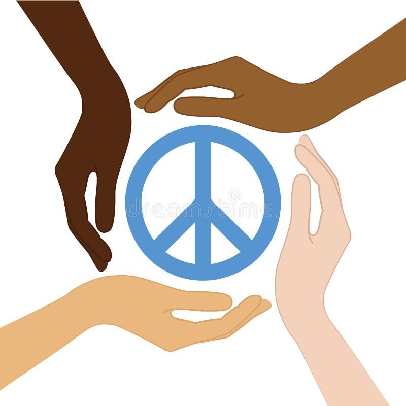El símbolo de paz en el medio del ser humano da diversos colores de piel ilustración del vector