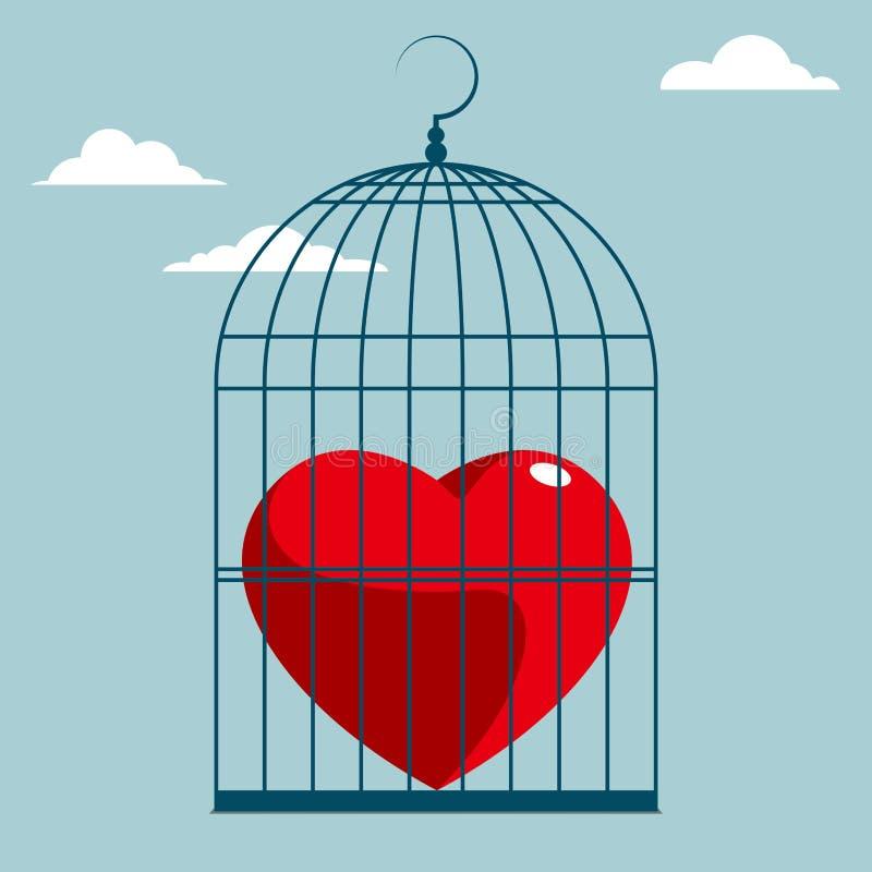 El símbolo del corazón está en la jaula de pájaros ilustración del vector
