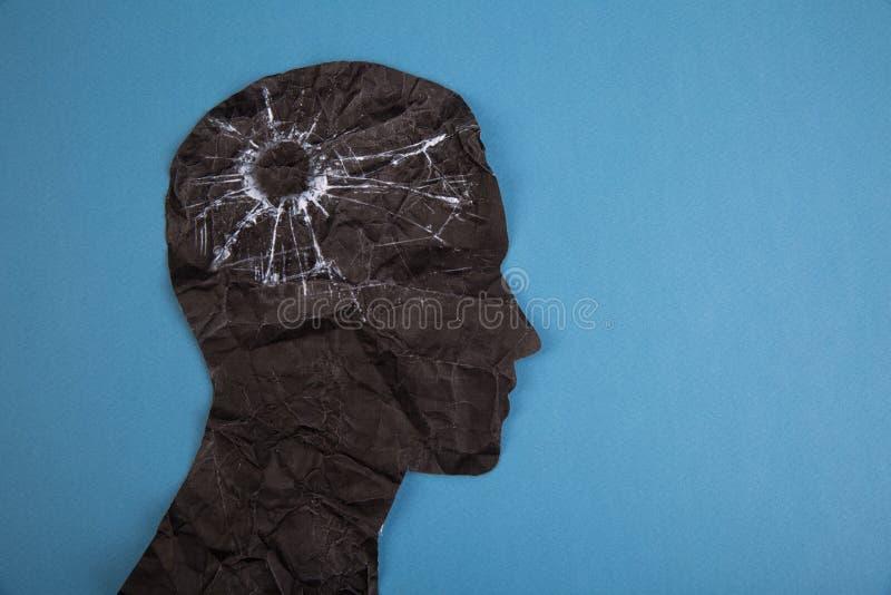 El símbolo del desorden del cerebro presentado por la cabeza humana hizo el papel de la forma Idea creativa para la enfermedad de ilustración del vector