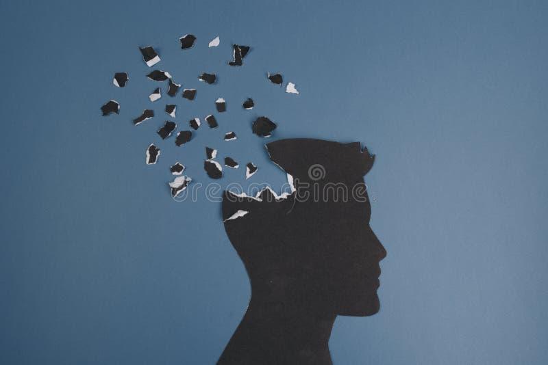 El símbolo del desorden del cerebro presentado por la cabeza humana hizo el papel de la forma Idea creativa para la enfermedad de libre illustration