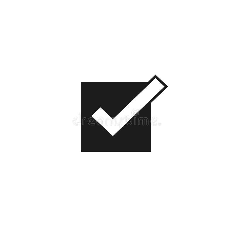El símbolo del vector del icono de la señal, marca de cotejo aislada, comprobó el icono o muestra, marca de la caja de control o  libre illustration