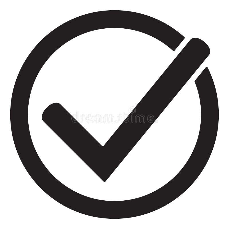 El símbolo del vector del icono de la señal, marca de cotejo aislada en el fondo blanco, comprobó el icono o el picto bien escogi stock de ilustración