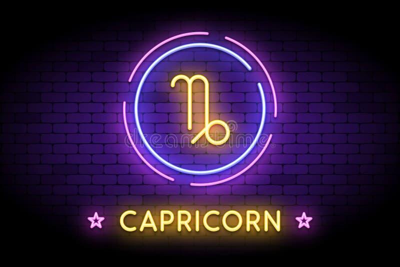 El símbolo del zodiaco del Capricornio en el estilo de neón ilustración del vector