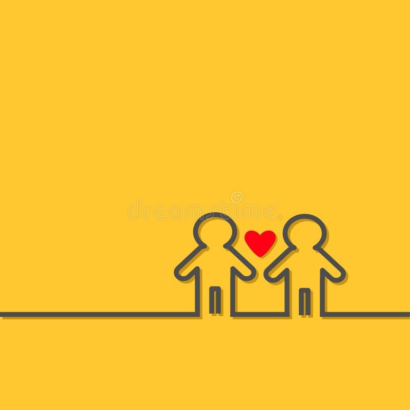 El símbolo dos del orgullo del matrimonio homosexual contornea diseño plano del corazón rojo del icono de la muestra LGBT del hom stock de ilustración