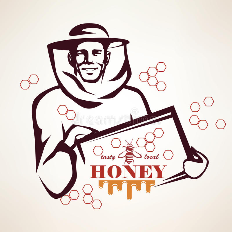El símbolo estilizado del vector del apicultor ilustración del vector