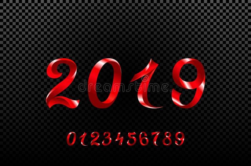 El símbolo 2019, el icono o el botón del rojo aislados en el fondo blanco, representa el Año Nuevo 2019, representación tridimens stock de ilustración