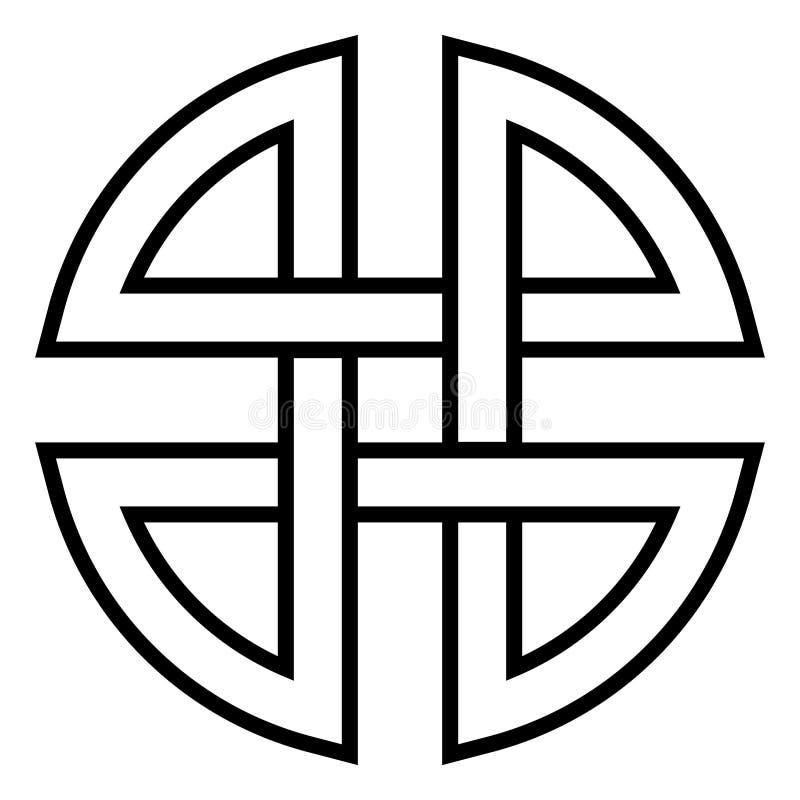 El símbolo japonés chino, la protección antigua de la muestra del vector y el escudo del infinito protege contra magia oscura stock de ilustración