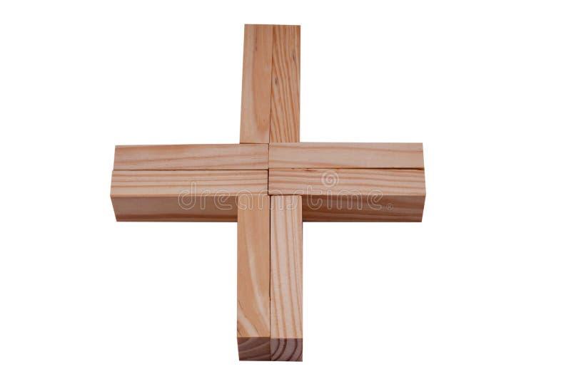 El símbolo más hizo bloques de madera imagen de archivo