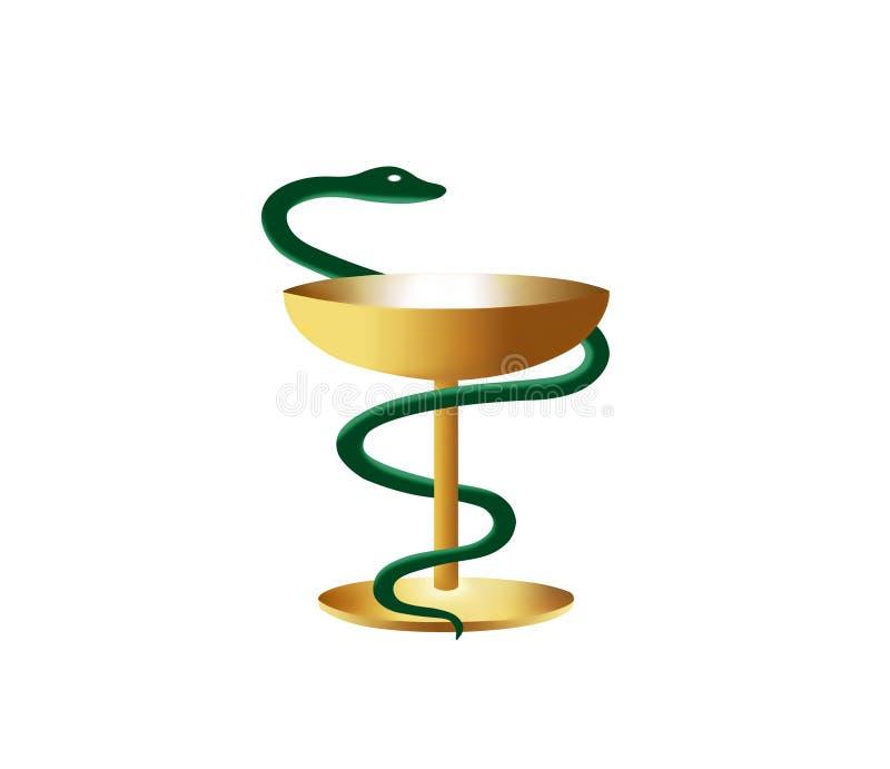 El símbolo médico es serpiente y cuenco ilustración del vector