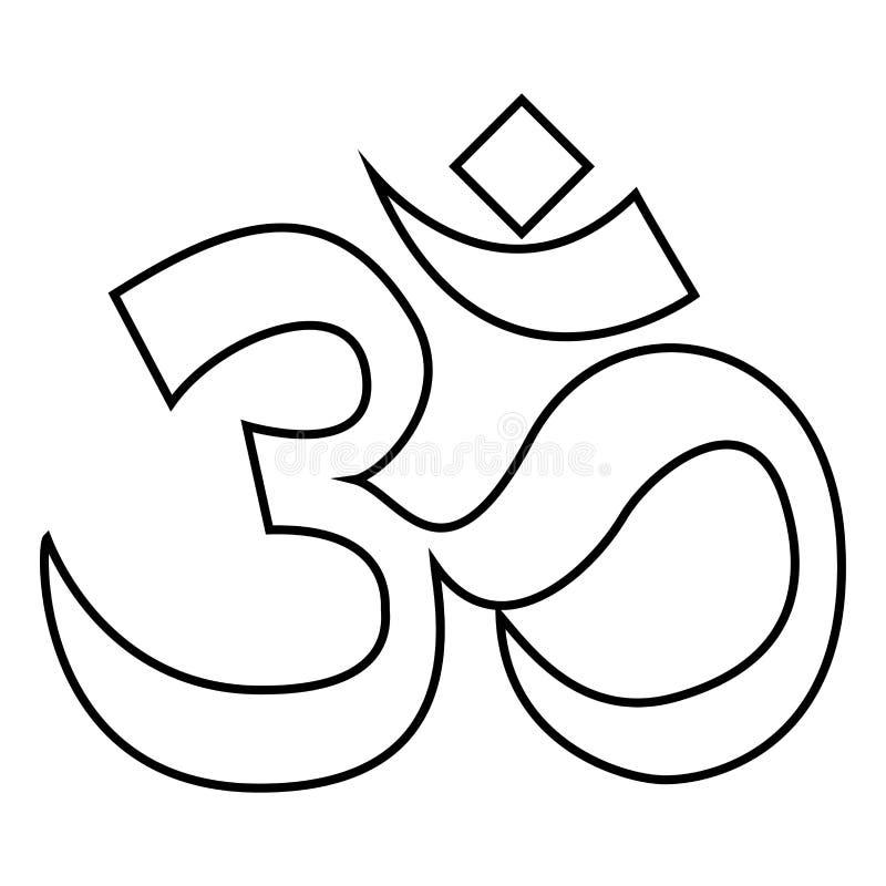 El símbolo OM de Induism firma imagen simple de color del icono del estilo plano negro del ejemplo stock de ilustración