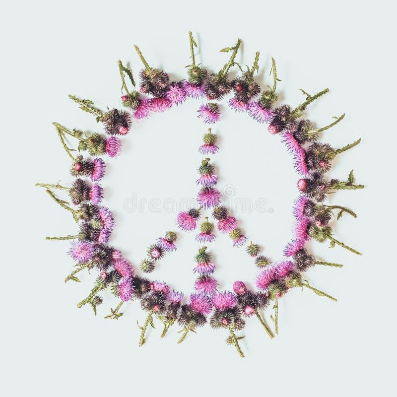 El símbolo pacífico-uno del signo de la paz de la paz, desarme y movimiento pacifista, alineó con las flores rosadas delicadas foto de archivo