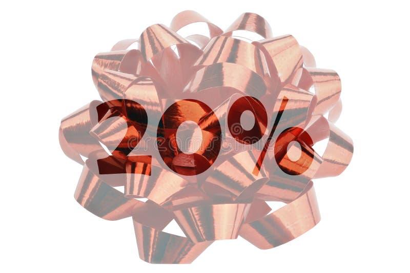 El símbolo para la reserva del 20 por ciento con el texto el 20% destacó delante de cinta roja del regalo ilustración del vector