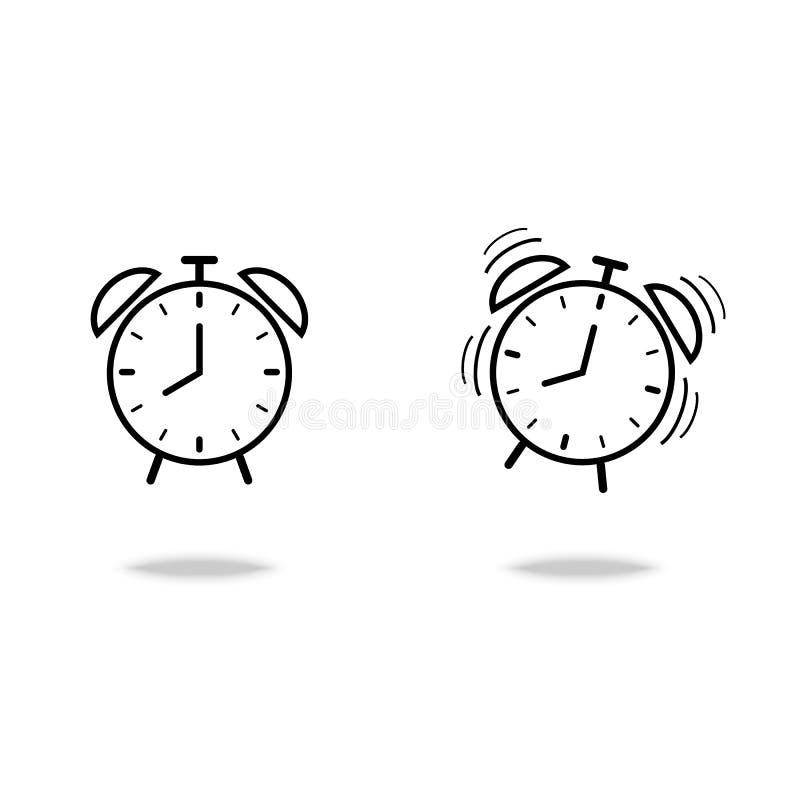 El símbolo plano del vector del estilo del icono del despertador despierta concepto en el fondo blanco para el diseño gráfico, si stock de ilustración