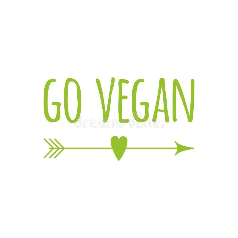 El símbolo verde del eco con frase va vegano con la flecha Vector la bandera para la etiqueta engomada natural de la comida, tejó stock de ilustración