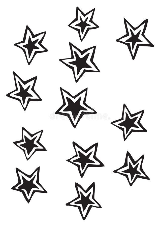 El sólido cinco estrellas del punto con el esquema separado vector ejemplos del dibujo libre illustration