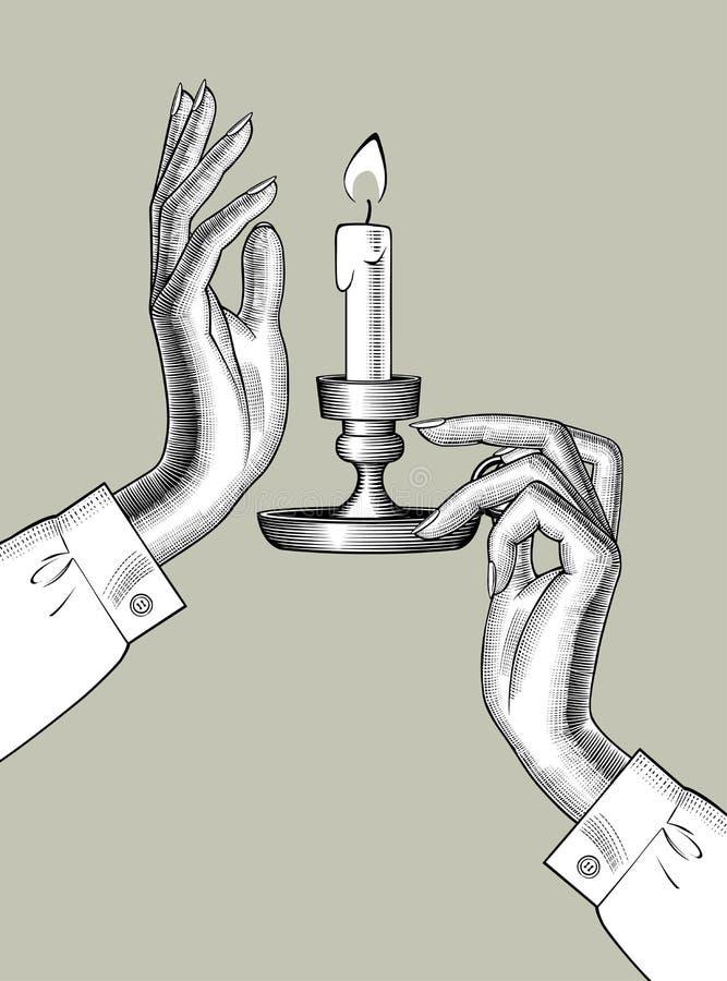 El ` s de la mujer da sostener una palmatoria con la vela ardiente ilustración del vector