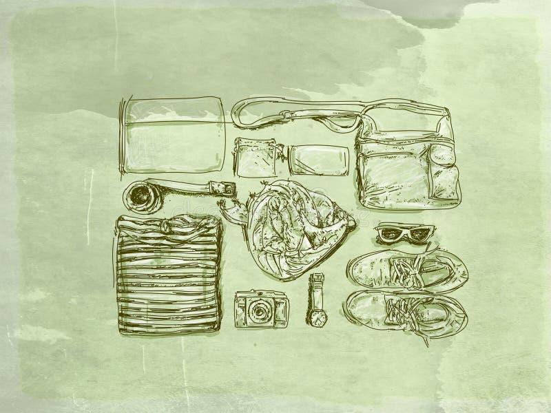 El ` s de los hombres del vintage viste con la base antigua libre illustration