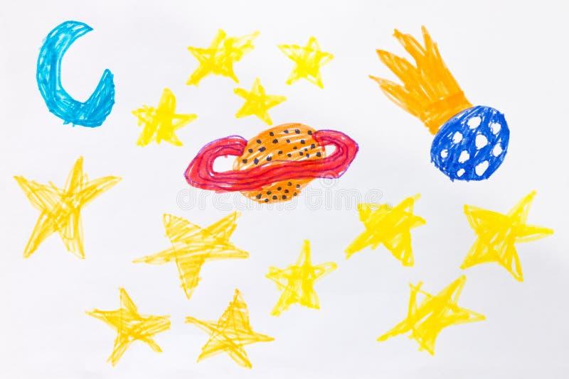 El ` s del niño sentía el dibujo de la pluma - planetas, cometas y estrellas en espacio imagen de archivo