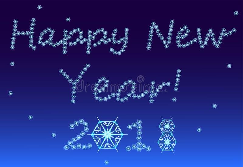 El ` s Eve, nieve, copos de nieve del Año Nuevo forma en palabras de la enhorabuena libre illustration