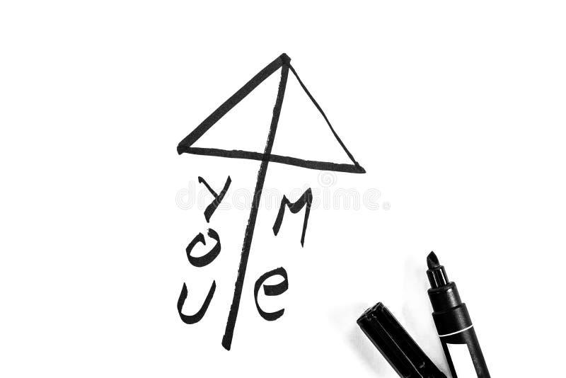 El s?mbolo del amor del estilo japon?s se pinta con el marcador, foto blanco y negro imagen de archivo libre de regalías