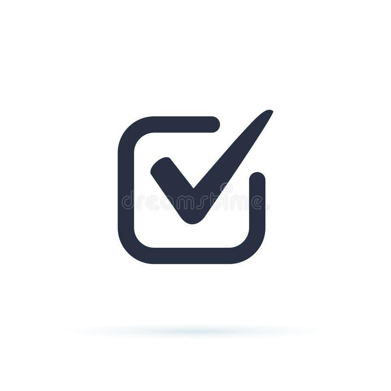 El s?mbolo del vector del icono de la se?al, marca de cotejo aislada en el fondo blanco, comprob? el icono o la muestra bien esco libre illustration