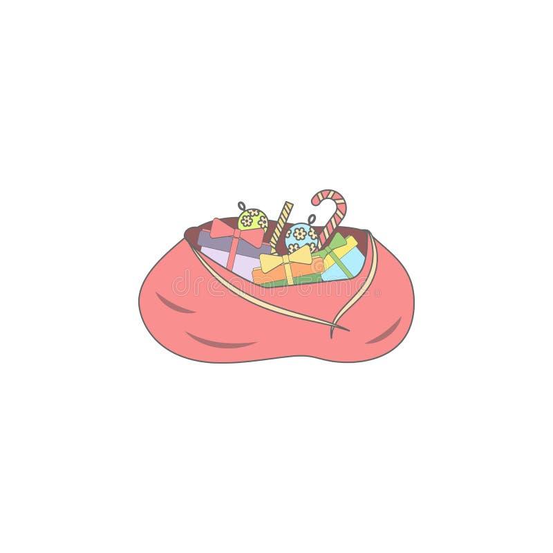 El saco de Papá Noel de la Navidad con los regalos coloreó el icono Elemento del icono coloreado día de fiesta de la Navidad Icon libre illustration