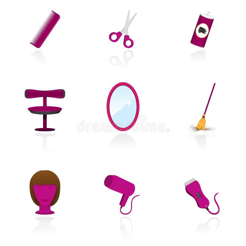 El salón de la peluquería se opone iconos ilustración del vector