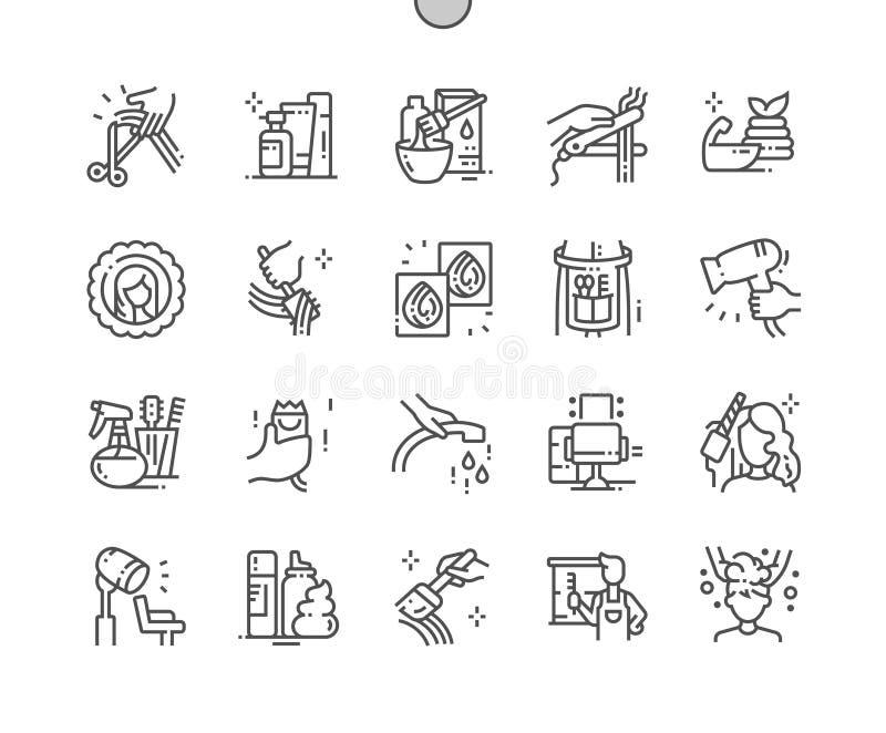 El salón de pelo Bien-hizo la línea fina rejilla 2x de los iconos 30 del vector a mano perfecto del pixel para los gráficos y App ilustración del vector