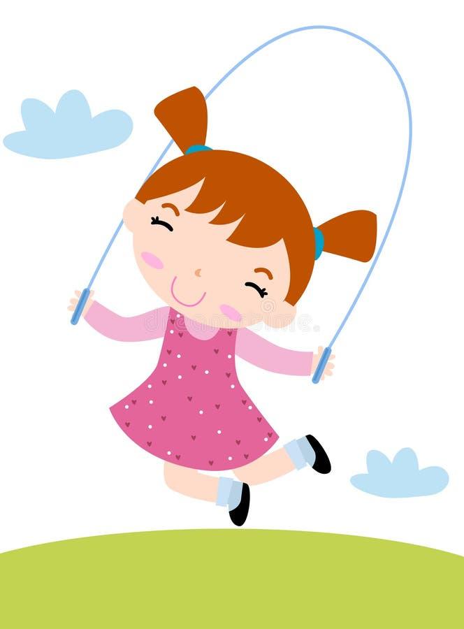 El saltar de la muchacha ilustración del vector