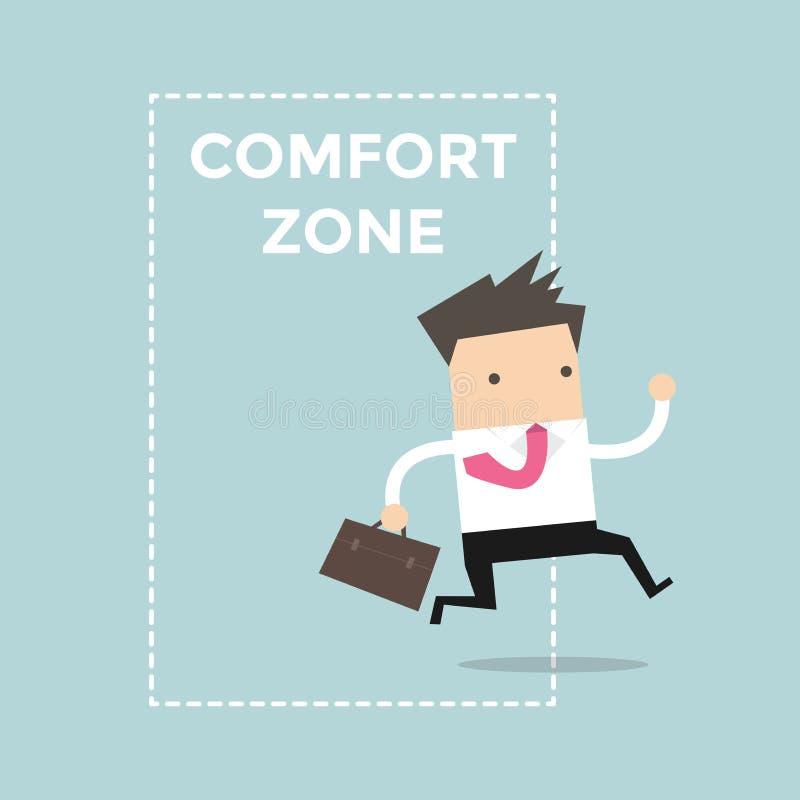 El saltar del hombre de negocios de la zona de comodidad al éxito stock de ilustración