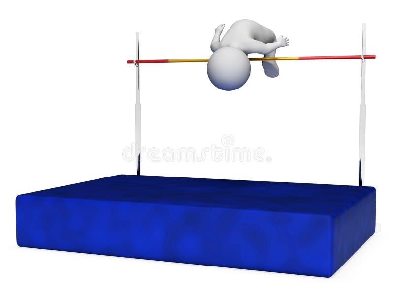 El salto de altura indica el salto con pértiga y la representación atlética 3d stock de ilustración