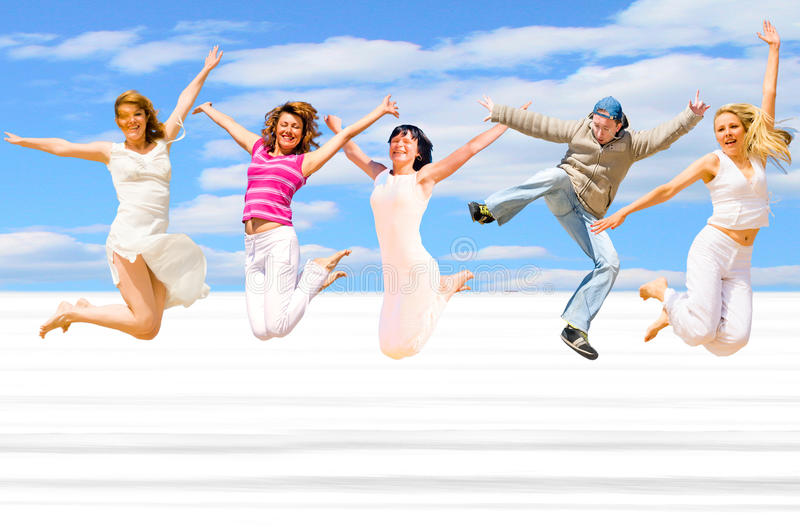 El salto de la gente imagenes de archivo