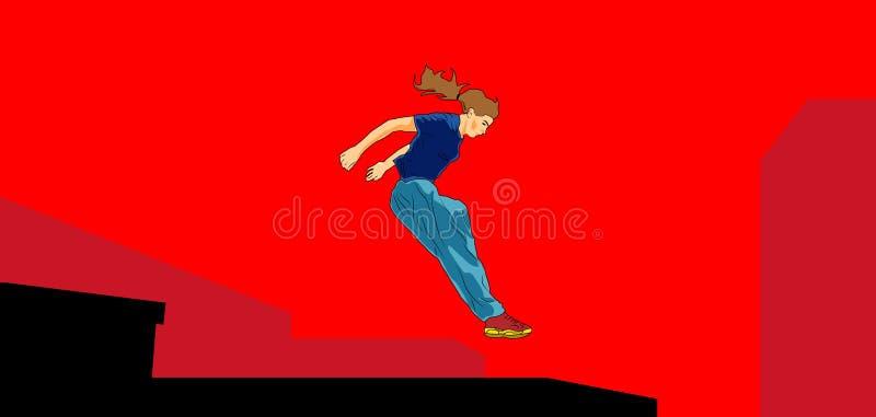 El salto de la muchacha Parkour en la ciudad ilustración del vector
