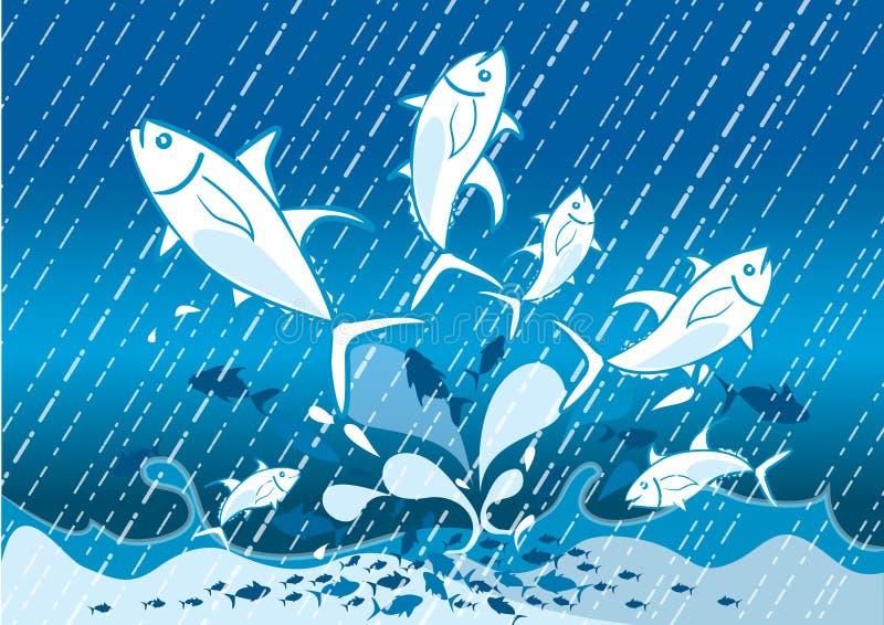 El salto de los pescados ilustración del vector