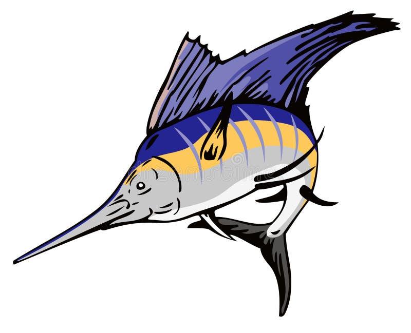 El salto del pez volador stock de ilustración