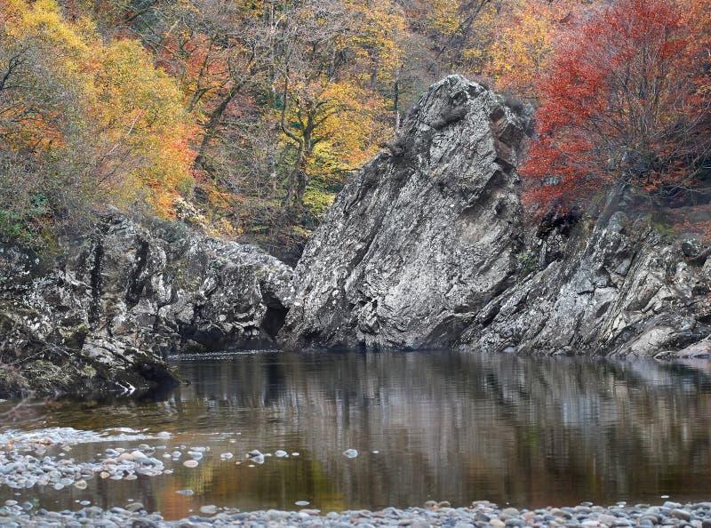 El salto en colores del otoño, Escocia del soldado imagen de archivo