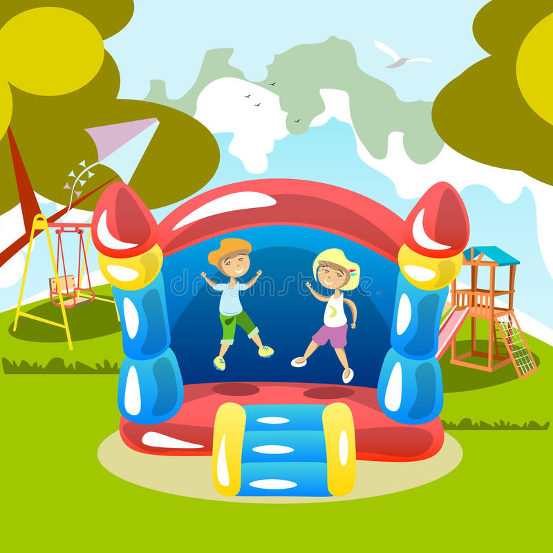 El salto en un trampolín embroma al aire libre stock de ilustración