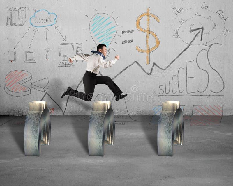 El salto sobre símbolo euro con concepto del negocio garabatea en la pared ilustración del vector