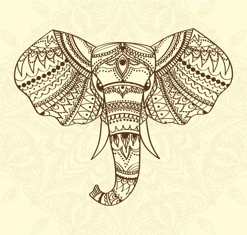 El saludo de la tarjeta hermosa con el indio modeló la cabeza del elefante Ilustración del vector Uso para la impresión, carteles libre illustration