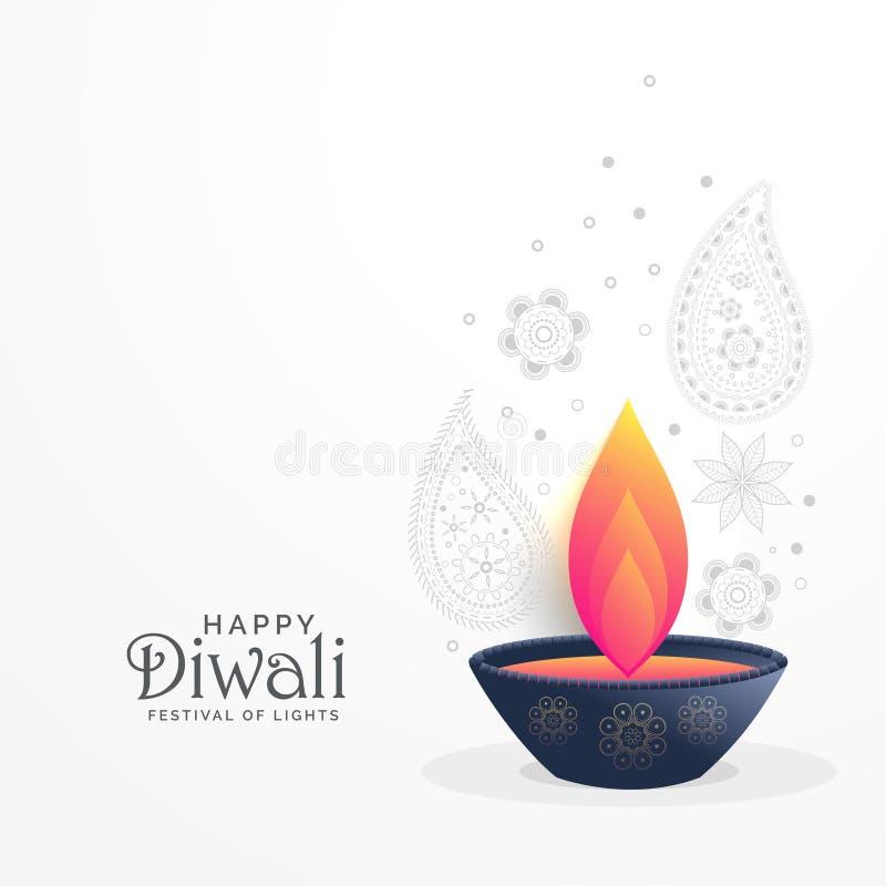 El saludo del festival de Diwali con diya y la decoración de Paisley diseñan stock de ilustración