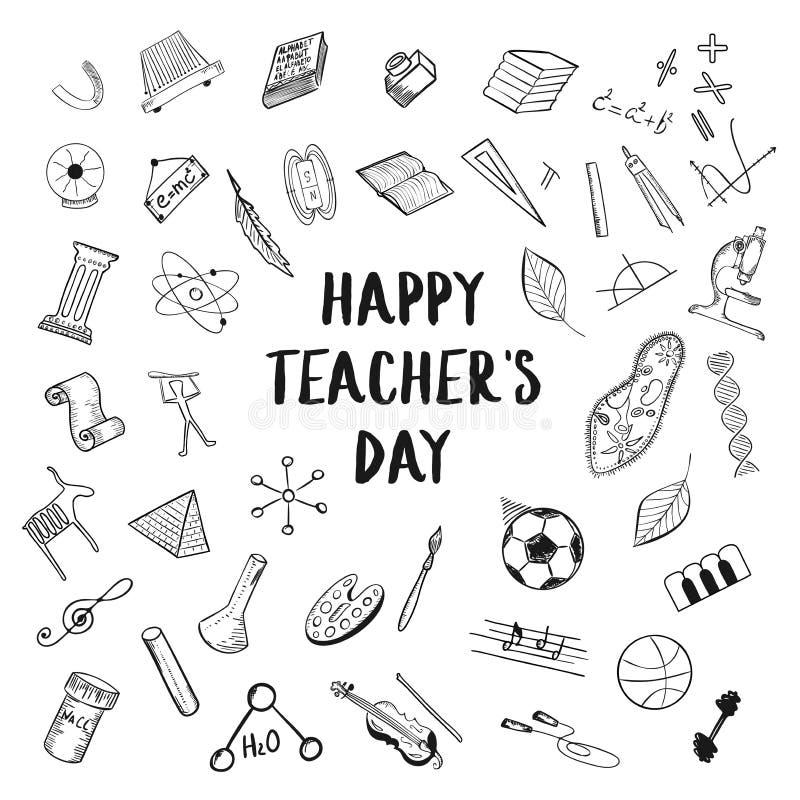 El saludo feliz del día del ` s del profesor en el fondo blanco, garabatea ejemplos a pulso del dibujo de la educación del bosque stock de ilustración